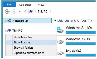 حذف Libraries از ویندوز